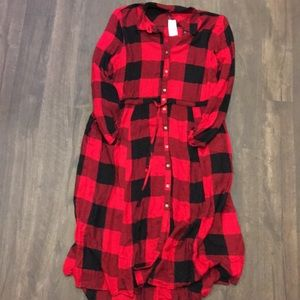 Maurice S buffalo plaid highlow dress with pockets